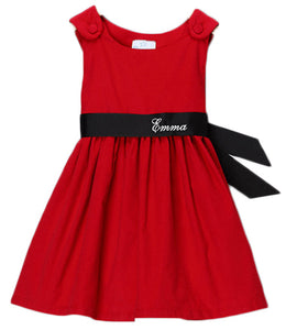 Personalized Red & Black Sash Corduroy Dress