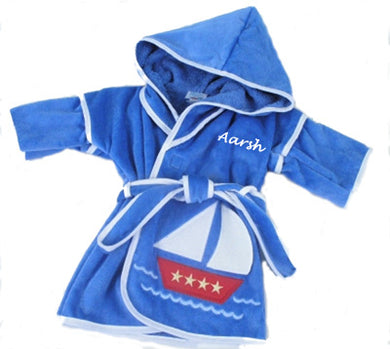Personalized Sail Terry Boat Hooded Robe