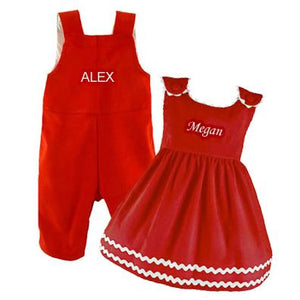 Personalized Sister & Brother Corduroy Set