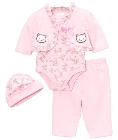 Pink Cats Cardigan Set with Pants
