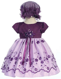 Purple Taffeta Party Dress with Hat