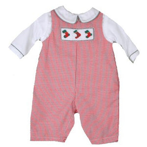Red Checked Preemie Coverall with Matching Hat