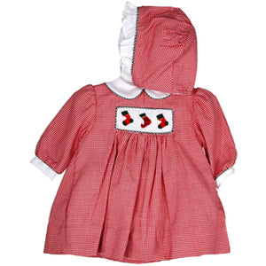 Red Checked Preemie Dress with Bonnet and Blommer