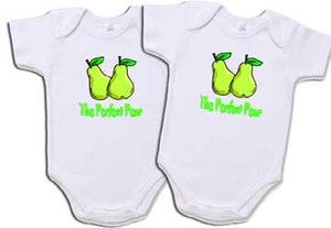 "Set of 2 ""The Perfect Pear"" Creepers For Twins"