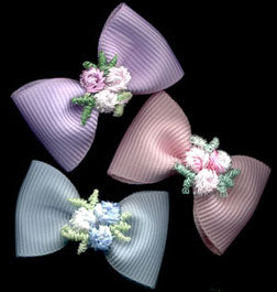 Set of 3 Baby Velcro Bows with Flowers