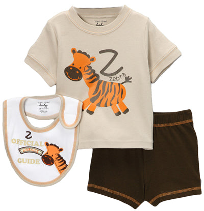 Tan Safari 'Zebra' Shorts Set