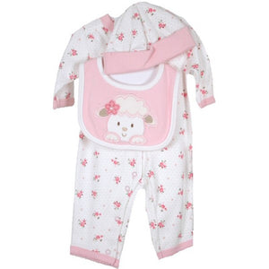 Three piece pink floral Preemie set