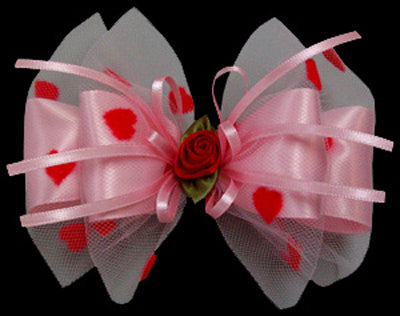 Valentine's Red Heart Flock Bow