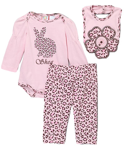 Personalized Pink Leopard Bunny Set
