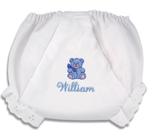 "Embroidered Bear ""Fancy Pants"" Diaper Cover"