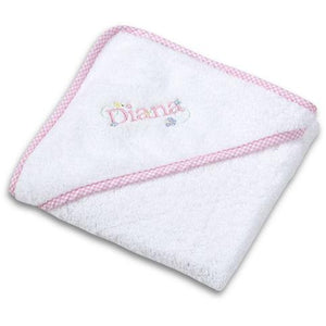 Girl's Personalized Gingham Hooded Towel