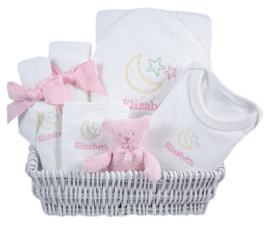 Personalized Luxury Pink Lullaby Layette Basket