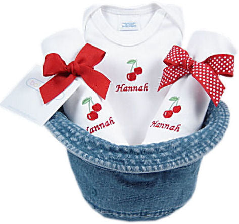 Personalized Denim Baby Bucket Hat Set