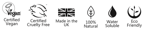 Vegan Society Logo, Leaping Bunny logo, Union Jack, 100% natural icon (leaf), water-soluble (droplet) icon eco-friendly icon (plant)