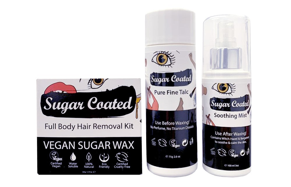 Sugar Coated Full Body Hair removal kit (left) Sugar Coated Pure Fine Talc (middle) Sugar Coated Soothing Mist (right)