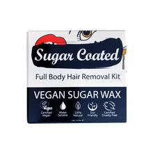 Load image into Gallery viewer, Sugar Coated Full Body Hair Removal Kit (front). Icons showing benefits. Vegan, water-soluble, natural, eco-friendly, cruelty-free