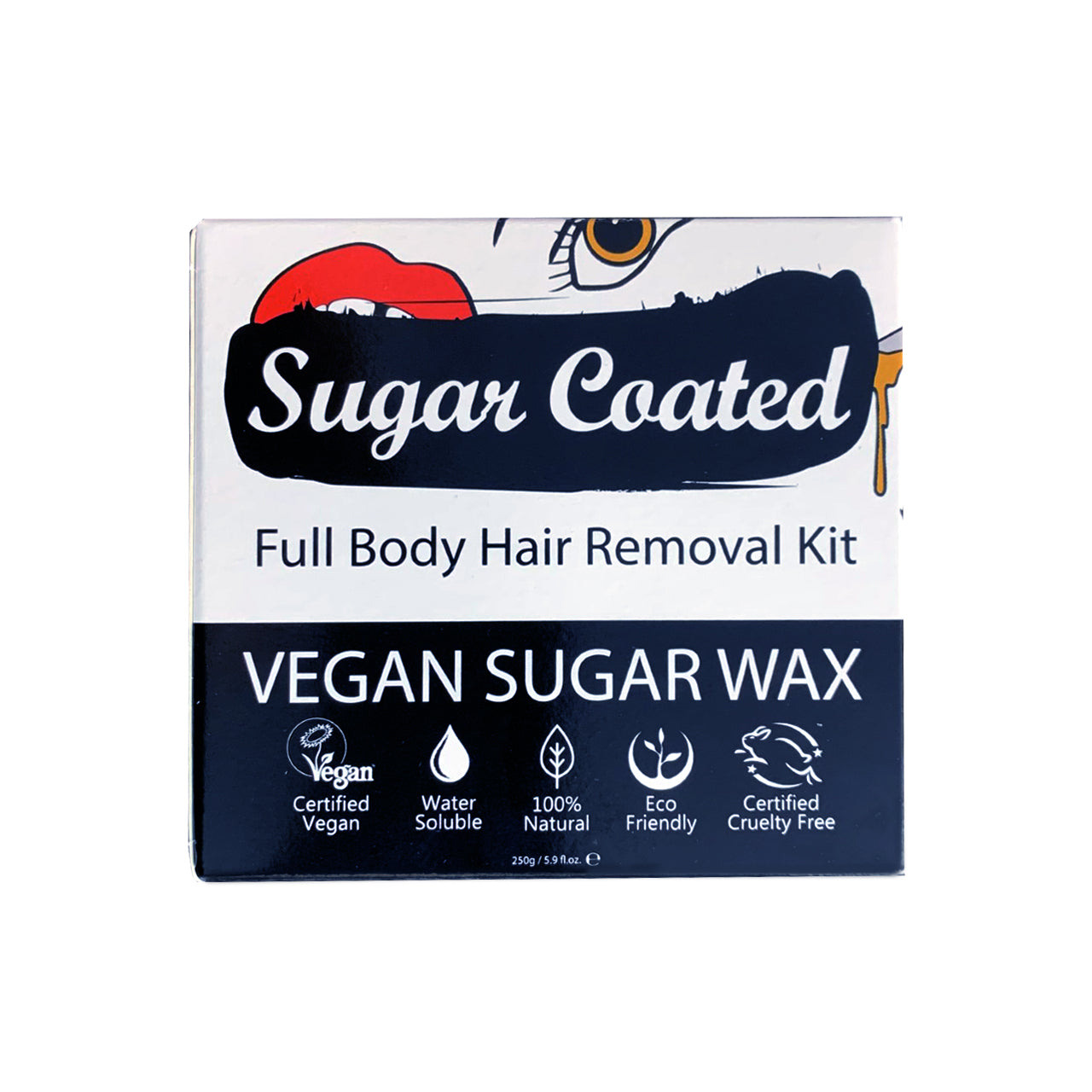 Sugar Coated Full Body Hair Removal Kit (front). Icons showing benefits. Vegan, water-soluble, natural, eco-friendly, cruelty-free