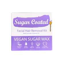 Load image into Gallery viewer, Sugar Coated Facial Hair Removal Kit (front). Icons showing benefits. Vegan, water-soluble, natural, eco-friendly, cruelty-free