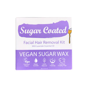 Sugar Coated Facial Hair Removal Kit (front). Icons showing benefits. Vegan, water-soluble, natural, eco-friendly, cruelty-free