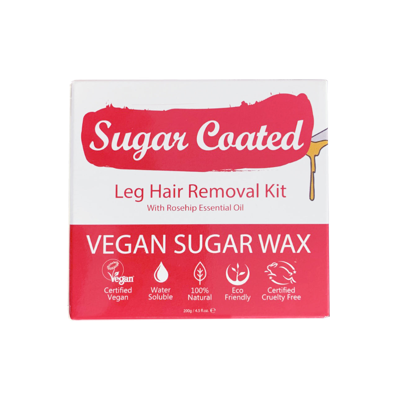Sugar Coated Legs Hair Removal Kit in rosehip colour (front). Icons showing benefits. Vegan, water-soluble, natural, eco-friendly, cruelty-free