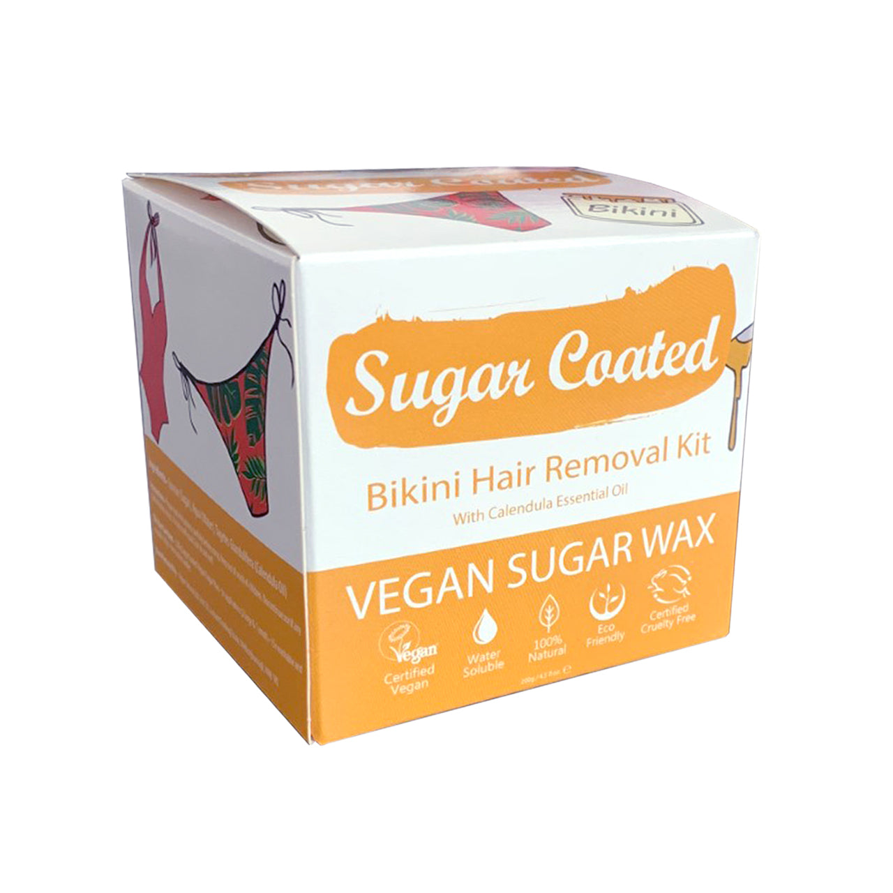 Sugar Coated Bikini box angled view with icons showing: Vegan, water-soluble, natural, eco-friendly, cruelty-free