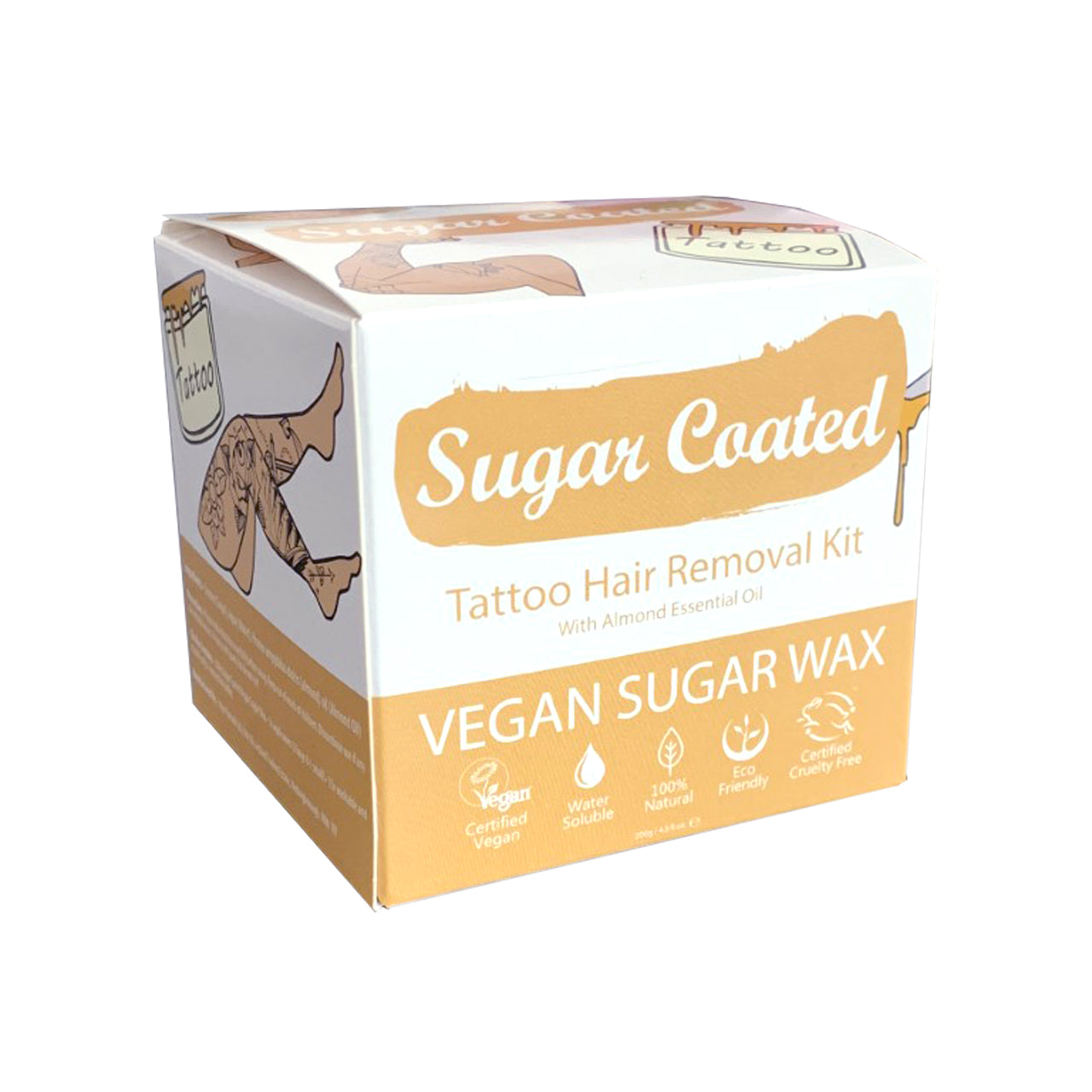 Sugar Coated Tattoo almond coloured box angled view with icons showing: Vegan, water-soluble, natural, eco-friendly, cruelty-free
