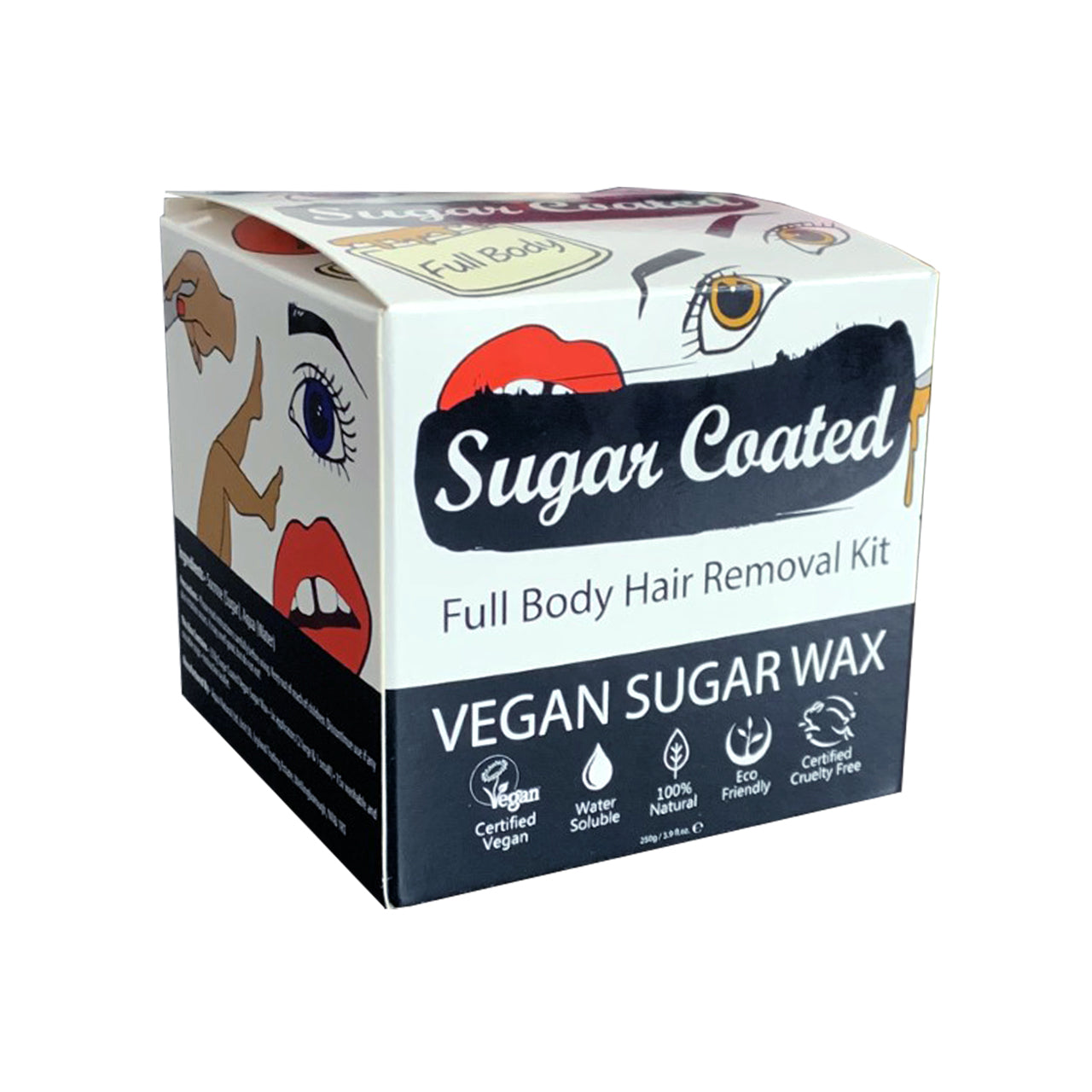 Sugar Coated Full Body box angled view with icons showing: Vegan, water-soluble, natural, eco-friendly, cruelty-free