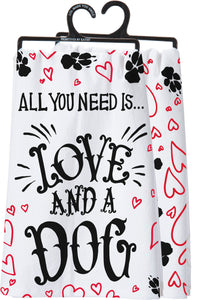 Love And A Dog Kitchen Towel