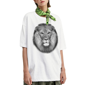 Metal Frame Lion Oversized T-Shirt