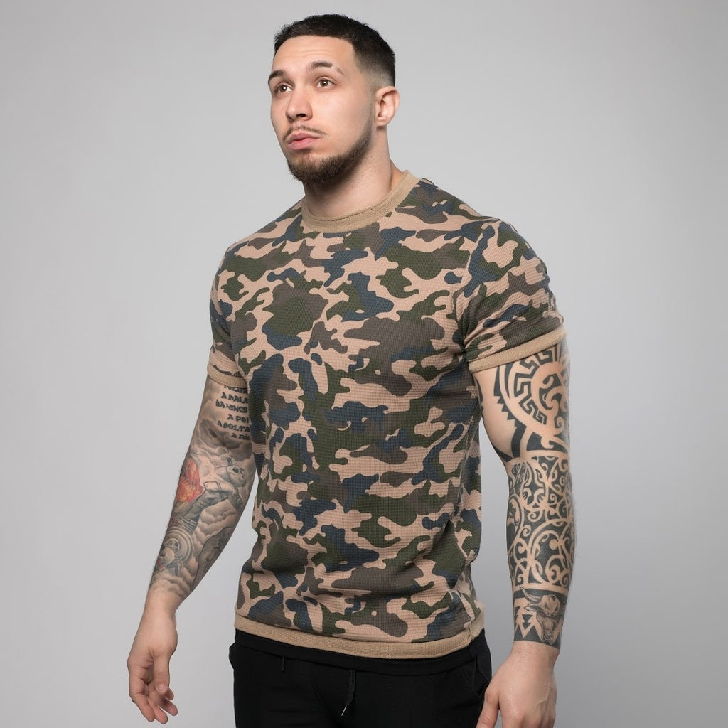 Check Textured Camo T-Shirt