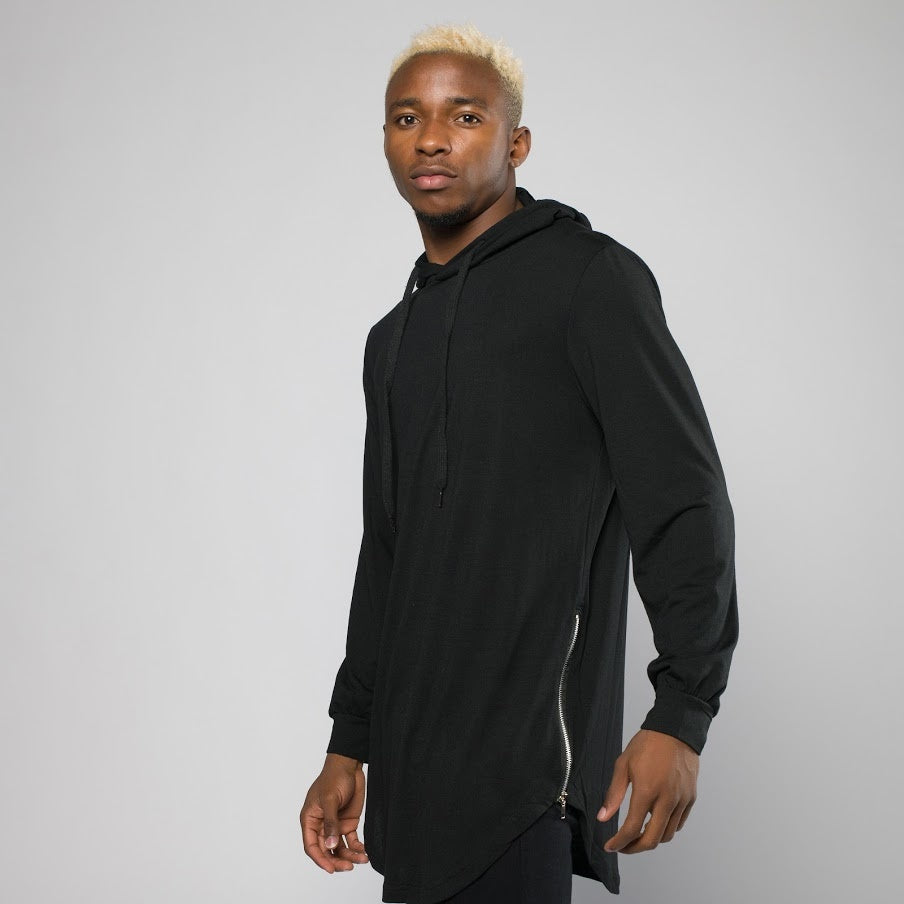 Side Zip Long Sleeve Hooded Shirt