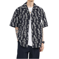 Monochrome Cartoon Button-Up Shirt