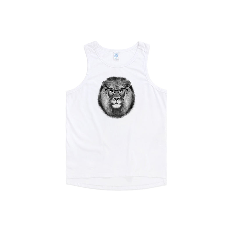 Round Glasses Lion Oversized Tank Top