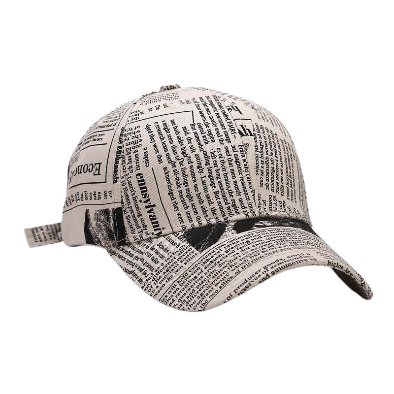 Newspaper Pattern Cap