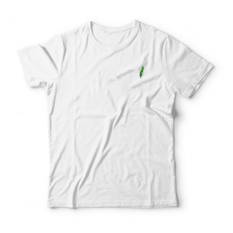 Green Feather Embroidered T-Shirt