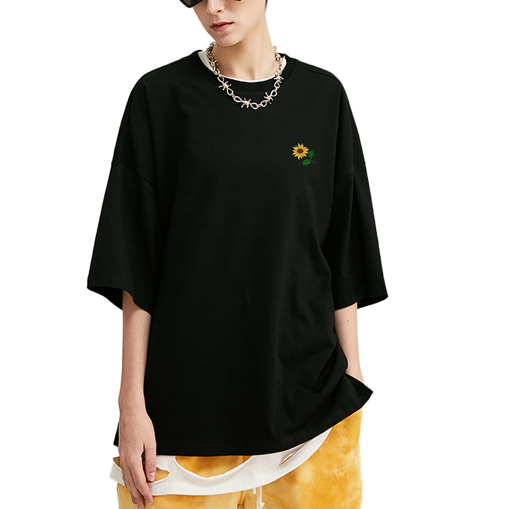 Sunflower Embroidered Oversized T-Shirt
