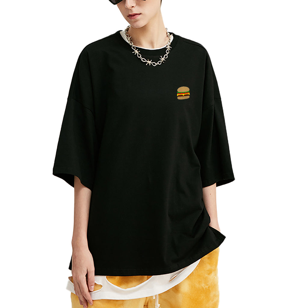 Burger Embroidered Oversized T-Shirt