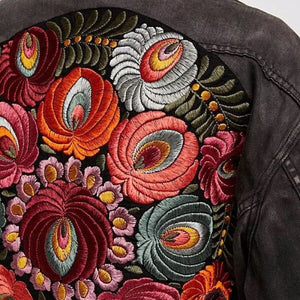Colorful Floral Denim Jacket