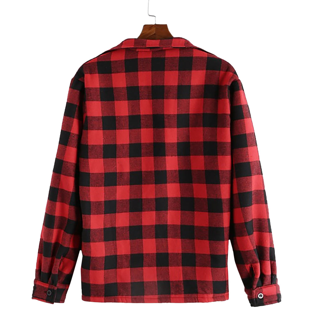 Plush Button Plaid Jacket