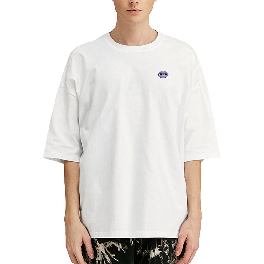 Vampire Lips Embroidered Oversized T-Shirt