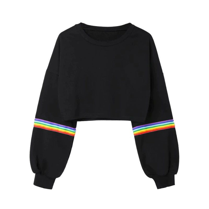 Rainbow Printed Cropped Sweatshirt
