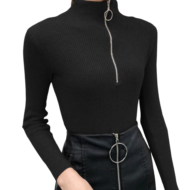 Zipper Long Sleeve Pullover