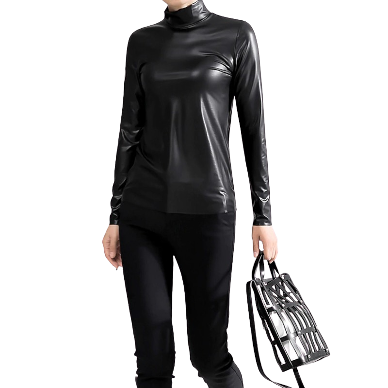 Leather Long Sleeve Shirt