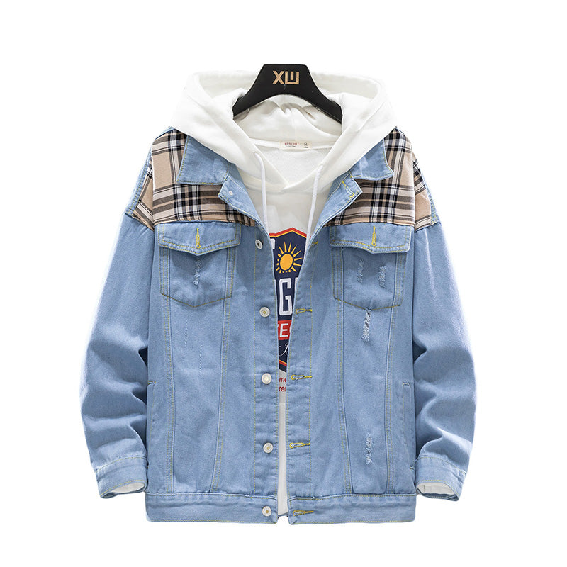 Checkered Shoulder Denim Jacket