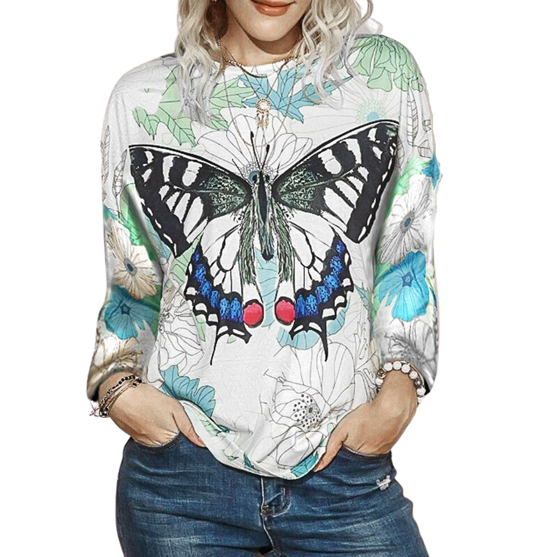 Butterfly Printed Long Sleeve Shirt