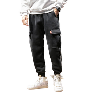 Multi-Pocket Velvet Joggers