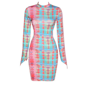 Colorful Long Sleeve Dress