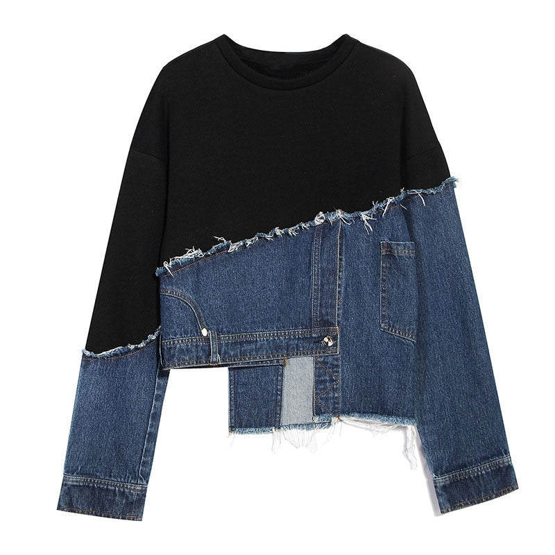 Asymmetrical Denim Sweatshirt