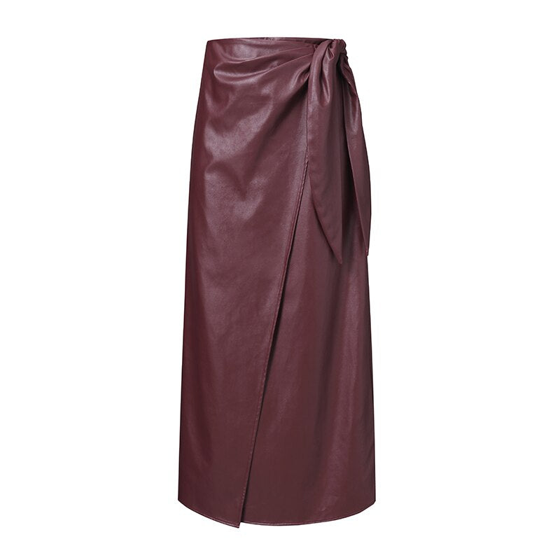 Midi Length Leather Skirt