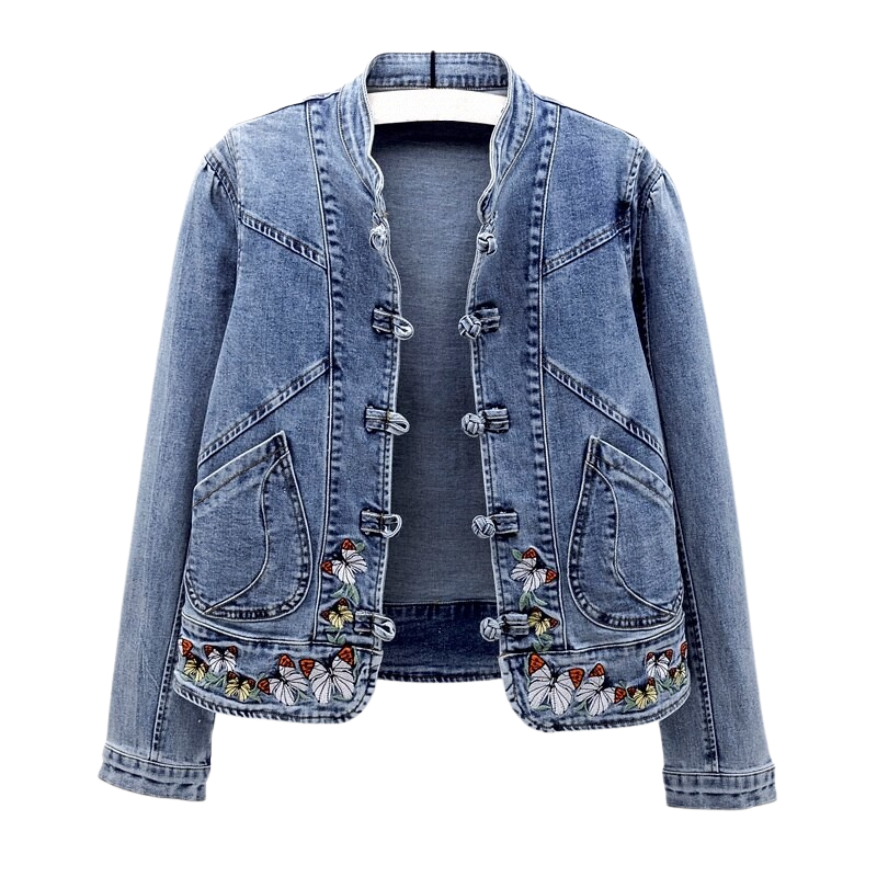 Butterfly Embroidered Denim Jacket